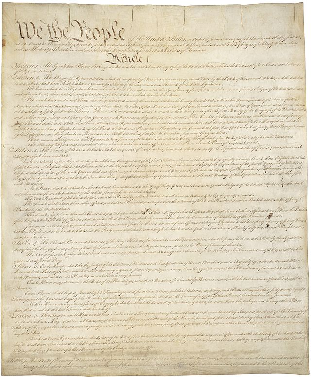 Original U.S. Constitution Page #1- Public domain via Wikipedia