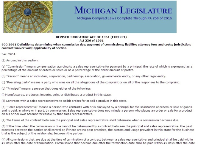Michigan Sales Representative Act