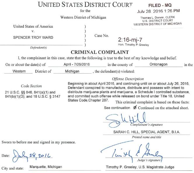 Spencer Troy Ward Criminal Complaint graphic #1