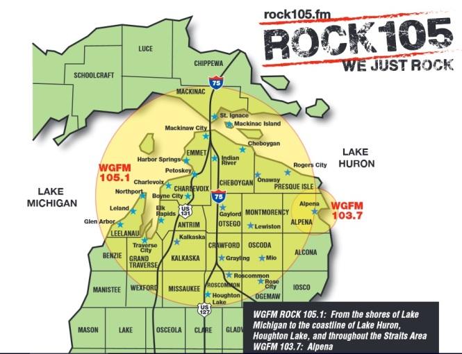 WGFM ROCK 105 FM coverage map