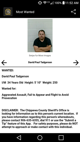 CAPTURED 12-18-17 Most Wanted Chippewa County, MI: Find this