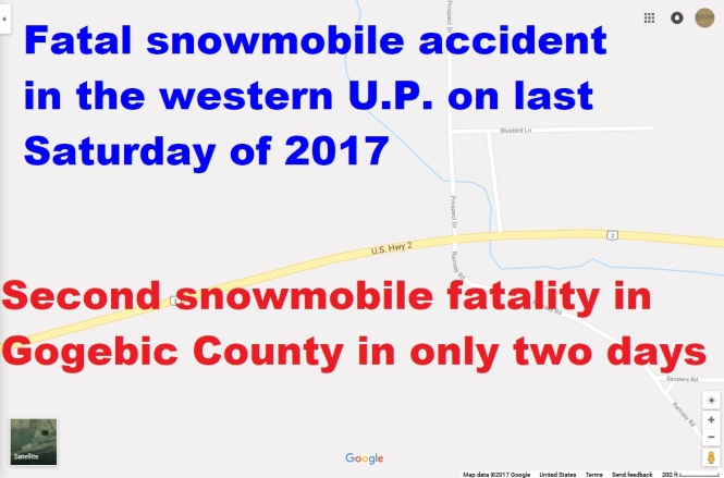 Gogebic County, MI suffers a second snowmobile fatality in