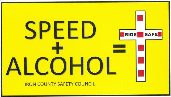 Snowmobile speed and alcohol kills warning from the Iron County Trails Safety Committee in NE Wisconsin and their Iron County Sheriff's Department and Sheriff Tony Furyk
