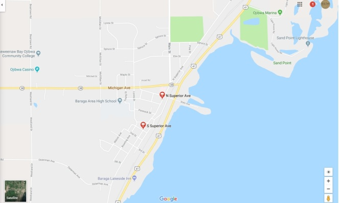 Baraga Superior Ave Google map graphic