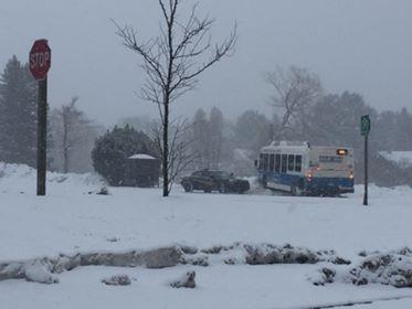 Marq-Tran Bus into snowbank