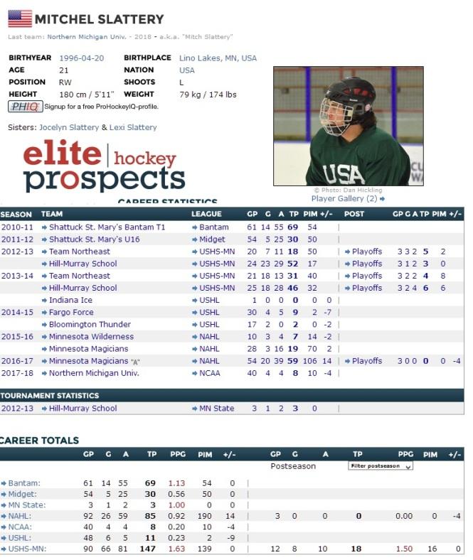 Slattery Elite Hockey Prospects graphic