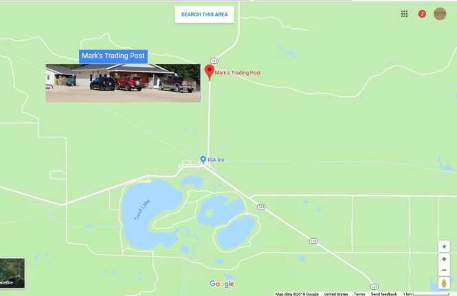 Trout Lake Missing Snowmobiler Map Mark's Trading Post